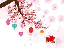 2019 Chinese New Year greeting card with pig emblem and sakura branch. Zodiac pig. cherry blossom flowers.  royalty free illustration