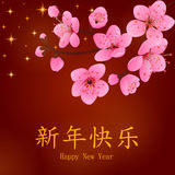 Chinese New Year greeting card with plum blossom. Greeting card in cartoon style. Vector illustration. Chinese New Year greeting card with plum blossom Royalty Free Stock Photos