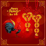 Chinese New Year greeting card with rooster, coins. Chinese New Year greeting card. Chinese zodiac rooster and golden coin charms tied with red string with stock illustration