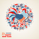Chinese New Year Greeting Card with Rooster. 2017 Chinese New Year Greeting Card Design. Hieroglyph Rooster. Vector illustration. Colorful Holiday Banner with Stock Photography