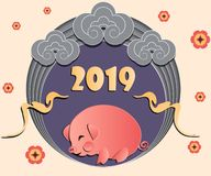 Chinese New Year greeting card template with cute pig, flowers and clouds in paper cut style. vector background. Colorfull festive banner 2019 stock illustration