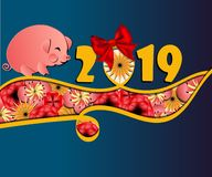 Chinese New Year 2019 greeting card template with cute pig, red ribbon and collorfull flowers in paper cut style. vector backgrou royalty free illustration