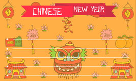 Chinese New Year of greeting card. Vector art Royalty Free Stock Images