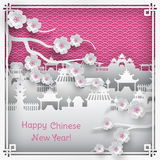 Chinese new year greeting card. Vector illustration of branch of cherry blossoms and chinatown village on pink outdoor background with oriental vintage pattern royalty free illustration
