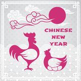 Chinese new year greeting card. Vector illustration of rooster animal symbol of chinese new year 2017 and chicken silhouettes with oriental vintage frame on Stock Photos