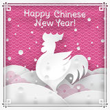 Chinese new year greeting card. Vector illustration of rooster animal symbol of chinese new year silhouette on pink outdoor background with oriental vintage royalty free illustration