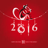 Chinese New Year Greeting Card With Monkey Stock Images