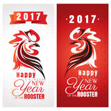 Chinese new year greeting cards with rooster. Vector illustration Royalty Free Stock Photo