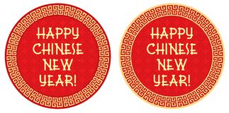 Chinese New Year Greeting - Label, Tag. Red background