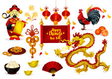 Chinese New Year greeting poster design. Chinese New Year greeting poster. Traditional red lantern, coins, zodiac rooster, god of prosperity, mandarin fruit Stock Photos