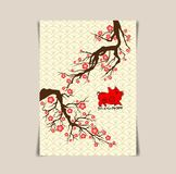 2019 Chinese New Year Greeting poster, flyer or invitation design with cherry blossom flowers and pig.  royalty free illustration