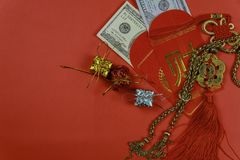 Chinese new year greeting red envelope, lucky dollar money for gift. With dollars inside stock images