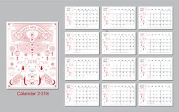 Chinese new year , 2018, greetings, calendar, Year of the dog ,. Chinese new year , 2018, greetings, calendar Template, Year of the dog , Translation: Happy new Stock Illustration
