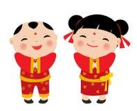 Chinese New Year Greetings- Children Stock Photo
