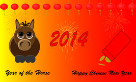 Chinese New Year. Happy Chinese New Year 2014. Beautiful red designs and cartoon of the yearly animal the horse. Seperate grouped elements Royalty Free Stock Photography