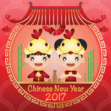 Chinese new year 2017. Happy Chinese new year 2017 card is chinese boy and girl character Royalty Free Stock Images