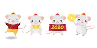 Chinese new year. 2020 happy cartoon mouse collection. illustration for calendars and cards. Funny rats with yuanbao, coin and