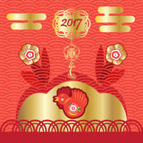 Chinese New Year. Happy Chinese New Year 2017 of red rooster ornamental background with graphic elements pattern, oriental ornament, gold frame, flowers, gold vector illustration