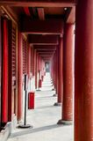 A long corridor in the temple. Chinese new year, historic building with a long corridor in the temple Royalty Free Stock Images