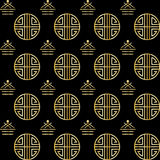 Chinese New Year. Holiday pattern. Chinese ornamental background. Gold abstract symbols on black background. Asian traditional ornament. Festive Vector stock illustration
