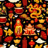 Chinese New Year holiday seamless pattern. Background. Spring Festival red lantern, oriental dragon and firecracker, god of wealth, lucky coin and pagoda, gold Stock Photo