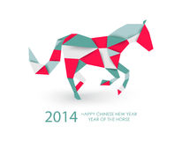Chinese new year of the Horse abstract triangle illustration. 2014 Chinese New Year of the Horse colorful abstract triangle silhouette composition. Vector file Royalty Free Stock Photos