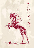Chinese new year of the Horse brush style vector file. Sketch style drawing with grunge background: 2014 Chinese New Year of the Horse illustration. Vector file vector illustration