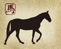 Chinese New  Year. 2014 Horse Year design. Old paper background. Illustration Royalty Free Stock Photo