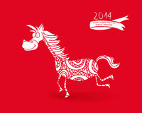 Chinese New Year of the Horse funny cartoon. 2014 Chinese New Year of the Horse fresh cartoon illustration. EPS10 vector file with transparency layers Stock Photos