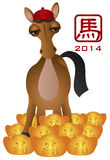 2014 Chinese New Year Horse with Gold Bars Illustr. 2014 Chinese New Year of the Horse Standing in Pile of Gold Bars Isolated on White Background Illustration Vector Illustration