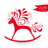 Chinese New Year of the Horse greeting card. 2014 Chinese New Year of the Horse cute toy silhouette  illustration. EPS10 vector file with transparency layers Stock Image