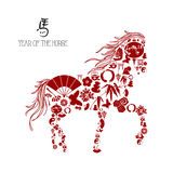 Chinese new year of the Horse: icons composition. Royalty Free Stock Images