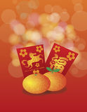 2014 Chinese New Year of the Horse Oranges and Red. 2014 Chinese New Year of the Horse Mandarin Oranges and Red Money Packets with Prosperity Text Calligraphy Royalty Free Illustration