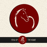 Chinese new year of the Horse red circle shape file. Stock Photography