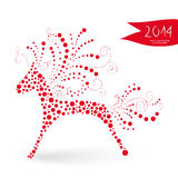 Chinese New Year of the Horse. 2014 Chinese New Year of the Horse red dots shape  illustration. EPS10 vector file with transparency layers Royalty Free Stock Photos