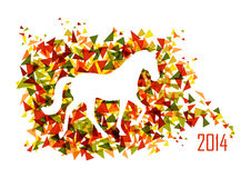 Chinese new year of the Horse shape triangle EPS10 file. 2014 Chinese New Year of the Horse animal silhouette over triangle background. EPS10 vector file with Royalty Free Stock Image