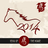 Chinese new year of the Horse shape vector file. Chinese New Year of the Horse 2014, animal silhouette illustration over grunge background. Vector file Royalty Free Stock Image