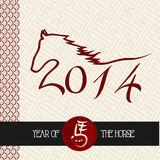 Chinese new year of the Horse shape vector file. 2014 Chinese New Year of the Horse, animal silhouette illustration over pattern background. Vector file Stock Photography