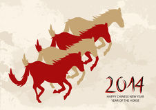 Chinese new year Horse shapes composition vector file. 2014 Chinese New Year of the Horse silhouettes with grunge background. Vector file organized in layers Stock Photography