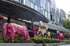 Chinese New Year with horse-themed decorations. SINGAPORE - FEBRUARY 12: Chinese New Year with horse-themed decorations in the Orchard Road on February 12, 2014 Stock Photography