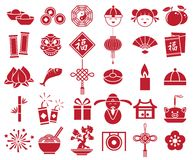 Chinese new year icon sign symbol set. Vector red color Royalty Free Stock Photo