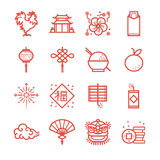 Chinese New Year icons set Stock Photography