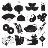 Chinese New Year Icons Set Stock Images