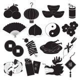 Chinese New Year Icons Set. Season greeting of Chinese new year icons set Stock Images