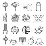 Chinese new year icons set. Vector llustrations. Background