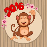 Chinese new year3. Chinese New Year illustration, funny cartoon colorful monkey in circle, symbol of 2016 year, sakura flowers frame, for your design royalty free illustration