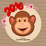 Chinese new year4. Chinese New Year illustration, funny cartoon colorful monkey head in circle, symbol of 2016 year, sakura flowers frame, for your design royalty free illustration