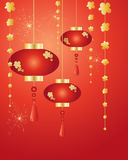 Chinese new year. An illustration of chinese new year lanterns decorations and fireworks on a red background in greeting card format Royalty Free Stock Photography