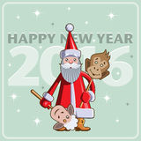 Chinese New Year illustration. Chinese New Year vector flat illustration. Santa Claus with masks sheep and monkey vector illustration