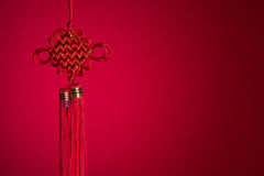 Chinese new year knot during chinese new year with red backgroun Stock Photography